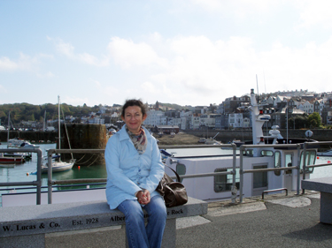Sheila on harbour wall