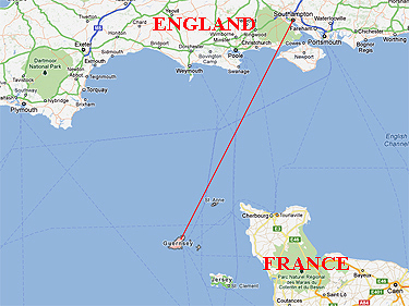 Position of Guernsey relative to England & France