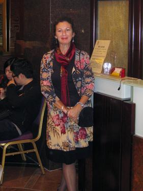 Sheila dressed for a fine goose dinner