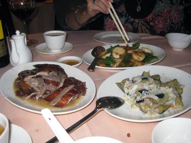 Meal in goose restaurant