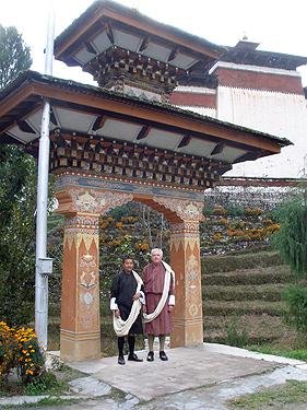 Karma & Derek at Dzong entrance