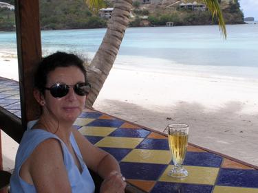 Sheila enjoiys a beer