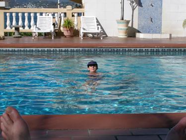 Sheila in hotel swimming pool