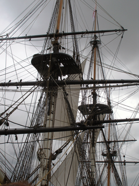 Rigging on tall ship