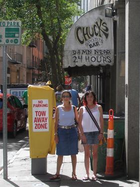 Jade & Sheila outside Chuck's bar