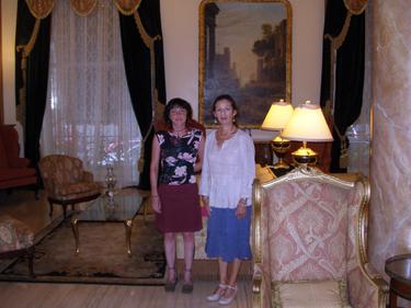 Jade & Sheila in hotel lobby
