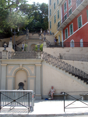 Steps leading up to park