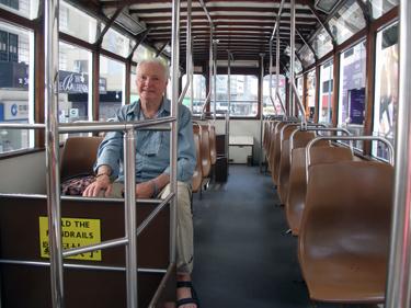 Derek on tram