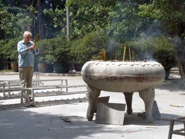 Derek offering incense