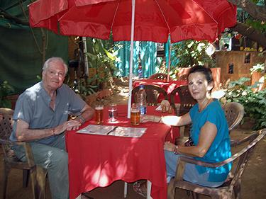 Derek & Sheila in garden restaurant