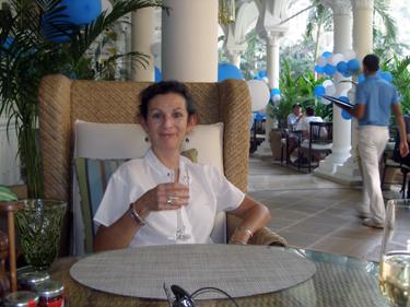 Sheila enjoying aglass of bubbly
