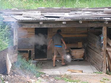 Man preparing hot stone baths