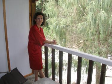Sheila on riverside balcony