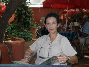 Sheila in restaaurant garden