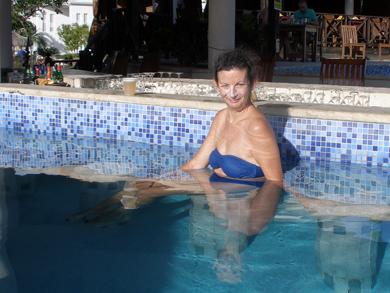Sheila at the swim up bar