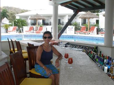 Sheila at poolside bar