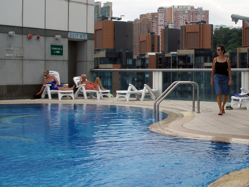 Sheila at hotel rooftop swimming pool