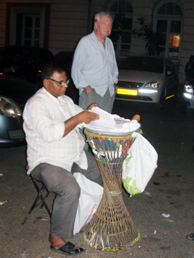 Derek with egg seller