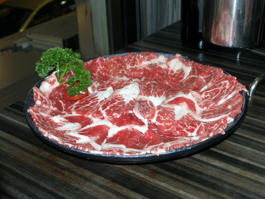 Thinly sliced marbled beef for the hot pot