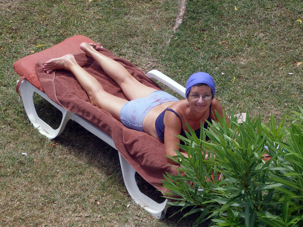 Sheila sunbathing