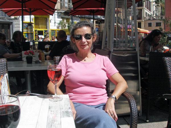 Sheila enjoying a glass of rose