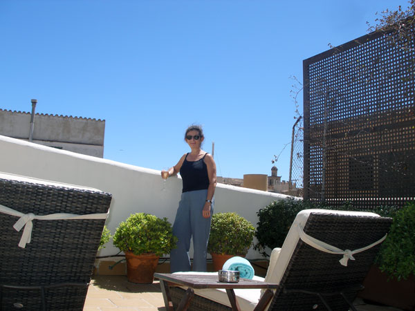 Sheila on the hotel roof terrace