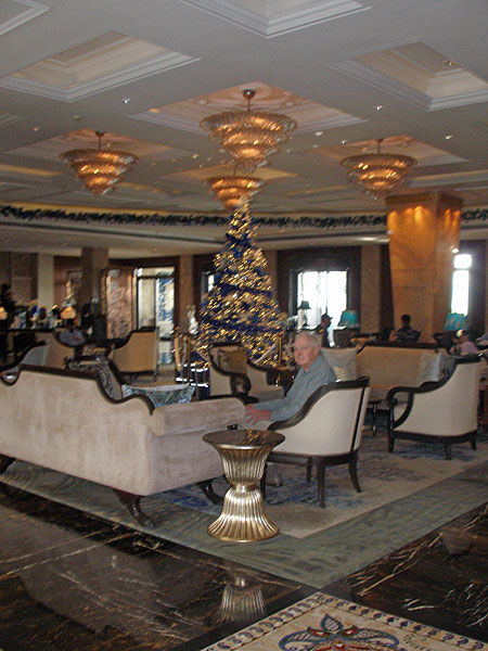 Derek in hotel lobby