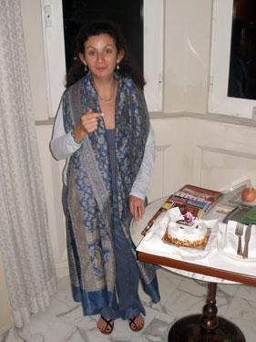 Sheila with birthday cake