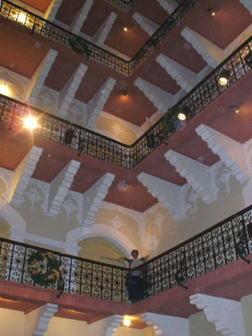 Staircase balconies in the hotel