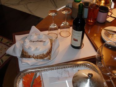Complimentary cake & bottle of wine for Silver Anniversary