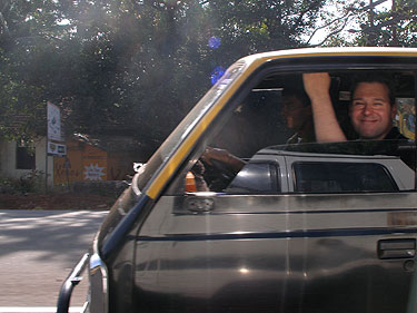 Gareth in taxi from airport in Goa