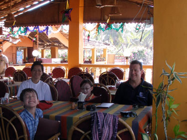 In Pedro's restaurant at the beach