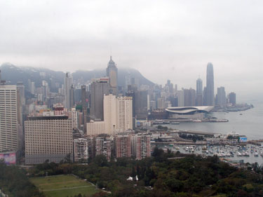 View from hotel room over Hong Kong Harbour