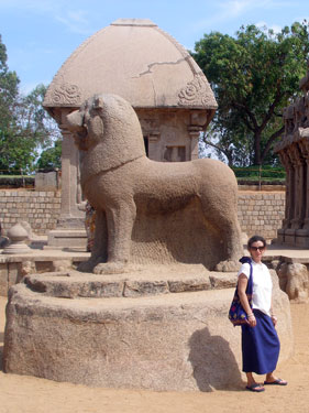 Sheila with lion sculpture