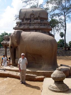 Derek with elephant sculpture