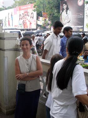 Sheila at Nalli's textile shop