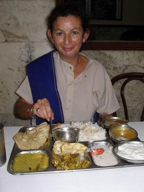 Sheila having lunch