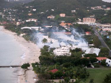Smoke over Grand Anse