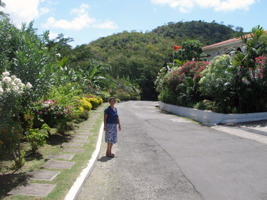 Sheila on road down to Grand Anse